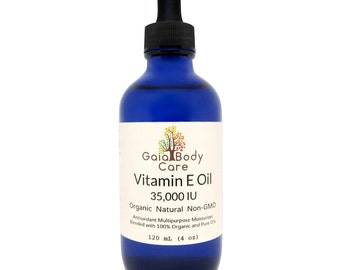 Organic Vitamin E Oil 35,000 IU Certified Organic Natural Super Blend for Anti-aging and Dry Skin 4 oz / 120 mL - Free Shipping