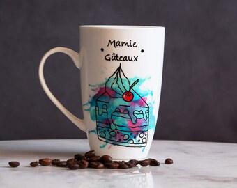 Cup cakes Granny geometric watercolors, mug geometric mamie cakes watercolor