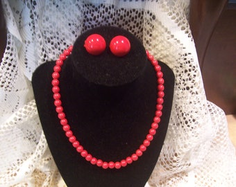 Red Beaded Necklace and Earring Set