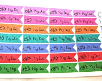 Planner Stickers - Pay Day Pennant Stickers - Happy Planner Stickers - Day Designer - Functional Stickers