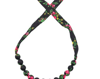 BLACK folk NECKLACE corals handmade etno scarf Poland with flowers
