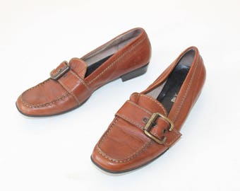 Women Loafers Shoes 80s Grunge Brown Leather Buckle Strap Heeled 1990s Brown Buckle Strap Distressed Stablesize US 8.5 Uk 6 Eur 39