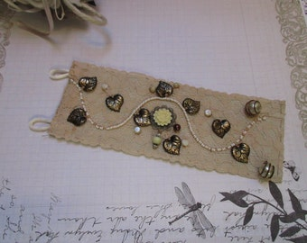 Vintage lace wedding, Bridal Cuff Bracelet