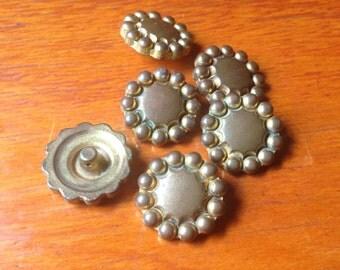 6 vintage metal buttons- beautiful patina c1920-50s