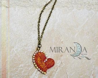 Fimo pendant, fimo necklace heart, saint valentine necklace