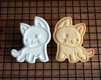 Cat Watching Right Side Cookie Cutter and Stamp