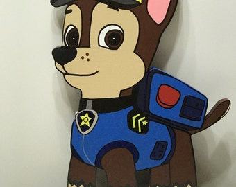 """Paw Patrol """"Chase"""" wooden wall art for children's room or play room."""