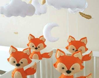 Fox mobile, fox baby mobile, fox nursery mobile, woodland animal mobile, baby shower gift, baby gift, baby Mobile, baby crib mobile