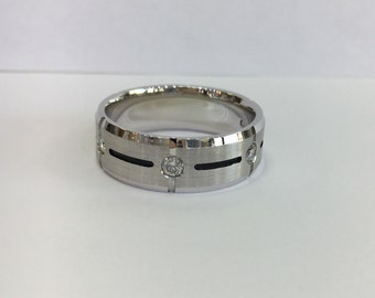 Brushed 14k diamond wedding band