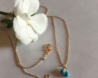 Dainty turquoise necklace in 14k yellow gold