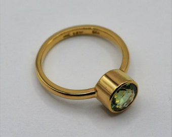 14k Cupcake ring with green tourmaline