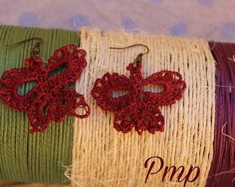Crochet earrings. Butterflies. Complements and accessories Valentine. Bisuteria-joyeria crochet. Arete in blood red Crochet.