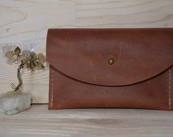 Leather Wallet, Leather Purse, Womens Wallet, Leather Clutch, Handbag Purse, Brown, Leather Cash Envelope