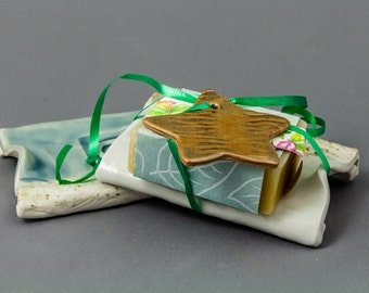 Hostess Gift w/ a handmade ceramic soap dish (can also be used as a spoon rest), soy soap & small ceramic star gift tag. Beach memories!
