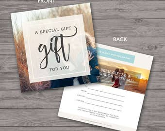 Gift Certificate Photography - Gift Certificate Template - Photoshop Template, PSD *INSTANT DOWNLOAD*