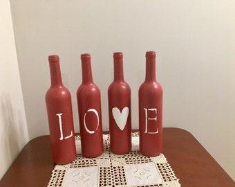 LOVE Wine Bottles, Valentine's Day Decor, Valentine's Day Wine Bottles, Wine Bottle Home Decor