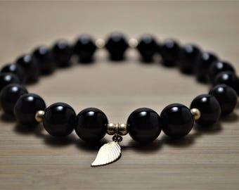 Black Onyx & 14kt Gold Filled Leaf Charm Beaded Stretch Bracelet
