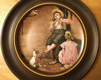 Norman Rockwell Music Master Plate 4 Limited Edition Porcelain Framed