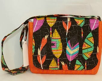 Messenger bag - Ready to ship - Orange chevron - Shoulder bag - Tote bag - Hobo bag - satchel bag - Feather print messenger bag - Handbag