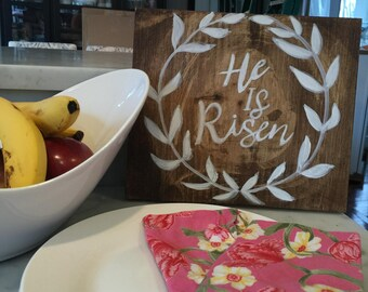Easter handmade wood sign! He Is Risen!