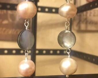 Freshwater pearls earrings, earrings, Sterling silver earrings, shell