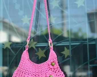 Crochet shoulder bag, Pink