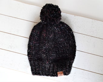 Knit Pom Toque, Blackstone,  Ready to Ship Size Toddler