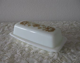 Mid Century Retro PYREX Butter Dish 72-B Gold Butterfly Covered