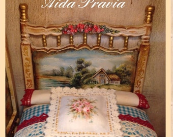 Bed landscape 1:12. Bed, hand painted furnitures