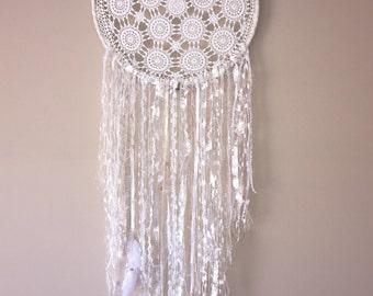 35cm Handmade Crochet + Lace Dreamcatcher