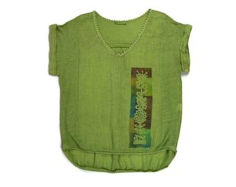 Green linen blouse. Handmade shirt. Casual linen top. Linen women clothing. Linen blouse. Linen shirt. Funny shirt. Womenswear. Linen top.