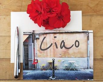 Greeting Card, Photo Card, Blank Card, Ciao, Italian, Cafe, Photography,