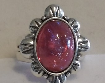Sterling Silver ring with Dragons Breath Cabochon