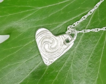 Silver Heart Necklace,Silver Heart Pendant,Silver Heart Charm, Silver Swirl Heart, Pure Silver Heart,Mother's Day,Birthday Gift,Handmade
