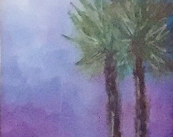 Scottsdale Palms, Original Acrylic Landscape, Framed