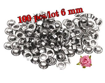 6mm Inner Diameter Metal Eyelets Grommets With Washers Silver Plated Metal Eyelets, Pack of 100 sets