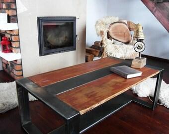 Handmade Reclaimed Wood & Steel Coffee Table Vintage Rustic Industrial  loft end table unique brown silver