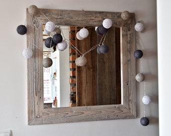 Mirror with frame from old wood French Country Rustic white farmhouse loft  wall decor cottage chic shabby