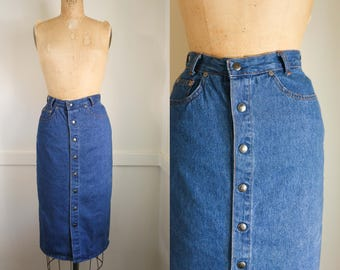 Vintage High Waisted Denim Button Down Midi Skirt