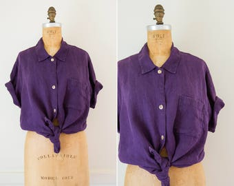 Oversized Purple Collared Button Down