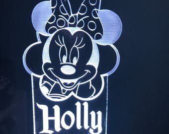 Minnie Mouse Inspired Color Changing Night Light / Desktop Lamp Cusotmized with Name (optional)