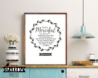 Bible Verse Wall Art, God Is Merciful, Hebrews 4:16, Scripture Art, Scripture Print, Bible Verse Art, Bible Verse Print, Digital Download
