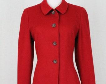 Vintage Jil Sander Minimalist Red Cashmere Peter Pan Collar Blazer Jacket 4