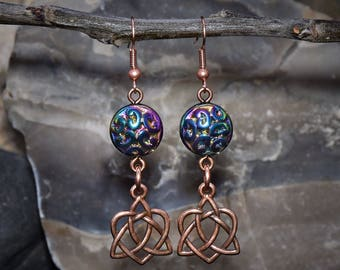 Copper Celtic Heart Earrings