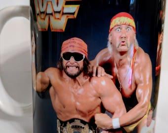 1980s WWE coffee mug