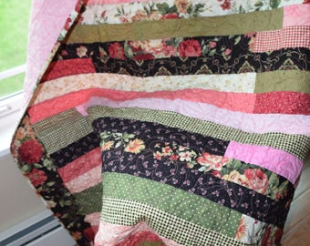 Lap or Throw Quilt ,Shabby Chic ,Floral,Roses,Feminine,Girl, Pink, Black, Rose and Green, Handmade