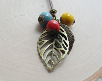 Ceramic Colorful Berries Leaf Pendant Necklace Waxed Linen Cord For Women/ Girls Jewelry