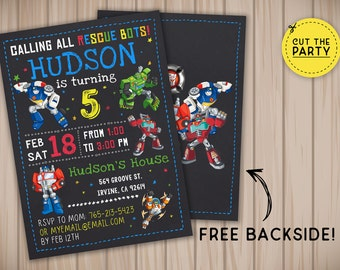 Rescue bots invitation, Rescue bots birthday invitation, Rescue bots chalkboard invitation, Rescue bots party invitation