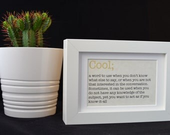 Urban Dictionary Wall Art / Cool Definition / Dictionary Art / Funny Definition / Word Art