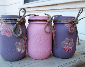 Juego de 3 tarros de Mason rosa liláceo púrpura, Moana decoraciones, Sofía las primeras decoraciones, cumpleaños niña, Moana partido, partido de Sophia, bodas